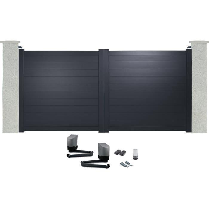 portail battant en aluminium yel gris 3 5m motoris autour du portail achat vente portail. Black Bedroom Furniture Sets. Home Design Ideas