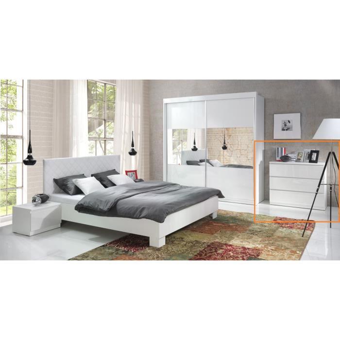 Commode design versus 3 tiroirs blancs laqu s meuble pour for Recherche chambre a coucher adulte