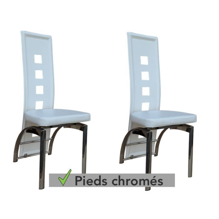 Lot de 2 chaises de s jour couleur blanche d achat for Chaise blanche sejour