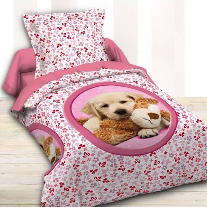 housse de couette petit chien et une taie 140 x 200 cm achat vente parure de drap cdiscount. Black Bedroom Furniture Sets. Home Design Ideas