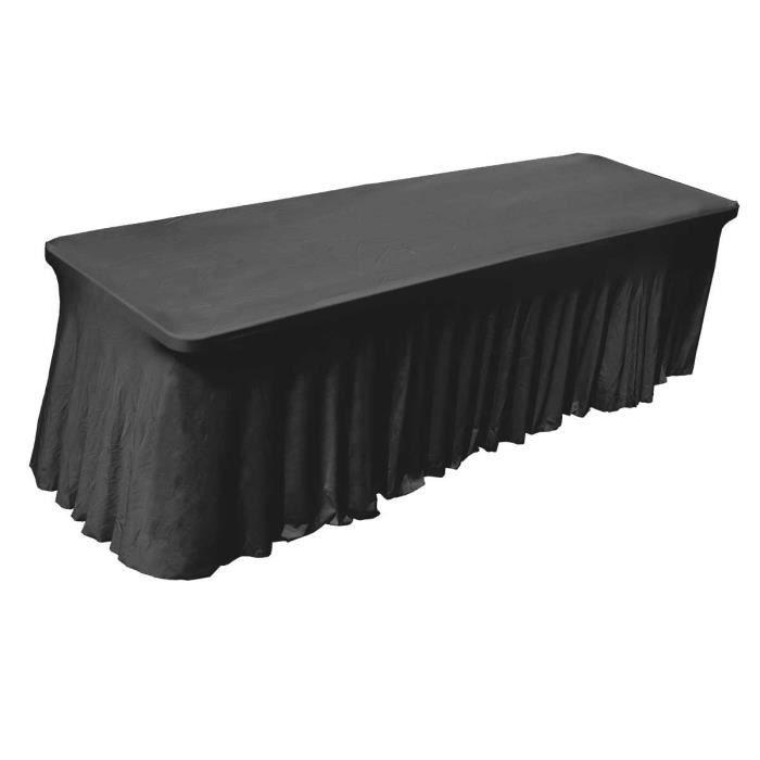 Nappe housse noire lastique pour table 244cm achat vente housse meuble j - Nappe pour table de jardin ...