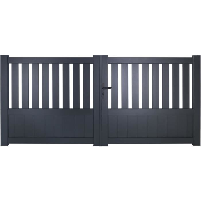 portail battant manuel baya en aluminium 3m gris autour du portail achat. Black Bedroom Furniture Sets. Home Design Ideas