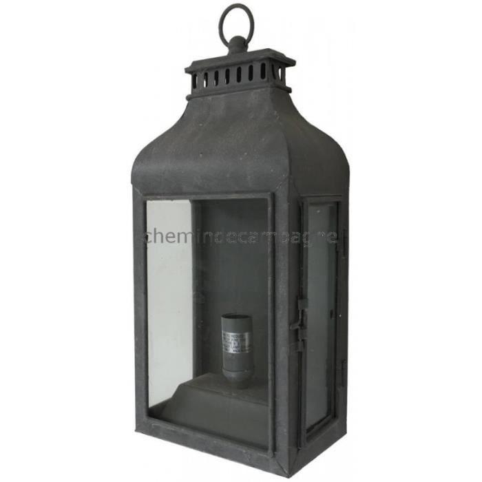 Style ancienne lanterne electrique murale ou poser fer d for Lanterne a poser exterieur