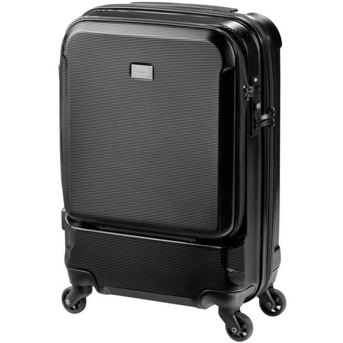 jump valise trolley stripe pc 4 roues 55 cm compartiment business noir gris achat vente. Black Bedroom Furniture Sets. Home Design Ideas