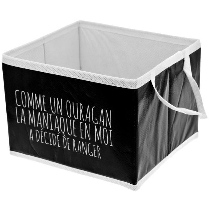 panier de rangement pliable salle de bain inscription fun gris noir achat vente casier pour. Black Bedroom Furniture Sets. Home Design Ideas