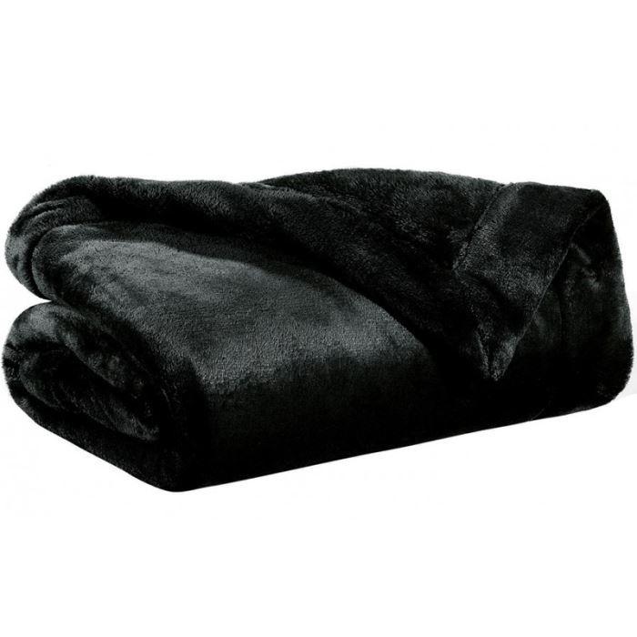 plaid microfibre 150x200 cm tender noir achat vente. Black Bedroom Furniture Sets. Home Design Ideas