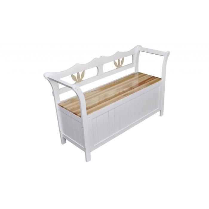 banc en bois blanc achat vente banc d 39 ext rieur banc en bois blanc cdiscount. Black Bedroom Furniture Sets. Home Design Ideas