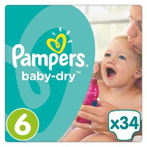 COUCHE PAMPERS Baby Dry Taille 6 - 15+kg -  34 couches -