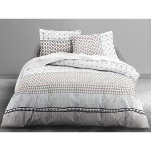 TODAY Parure de couette 100% coton MAWIRA EYLAU - 1 housse de couette 220x240 cm + 2 taies 63x63 cm blanc, gris et beige