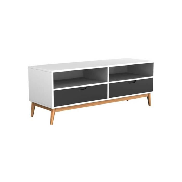 buffet 2 tiroirs noir et blanc elyas achat vente. Black Bedroom Furniture Sets. Home Design Ideas