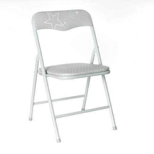 chaise pliante enfant m tal gris achat vente chaise gris cdiscount. Black Bedroom Furniture Sets. Home Design Ideas