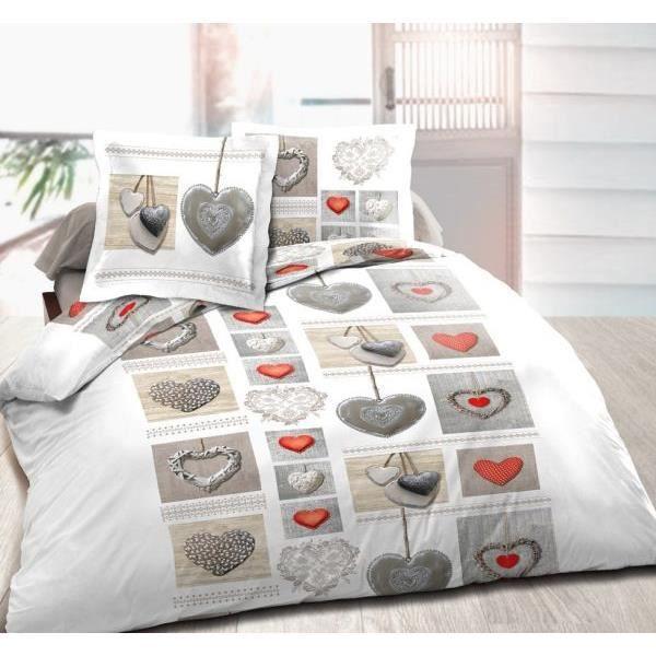 housse de couette 220x240cm 2 taies d oreiller 63x63 coeurs 2 ut achat vente housse de. Black Bedroom Furniture Sets. Home Design Ideas