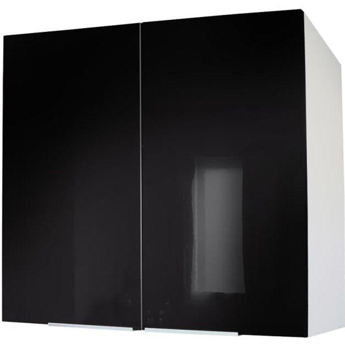 Meuble haut cuisine noir achat vente meuble haut for Meuble cuisine hauteur 100 cm