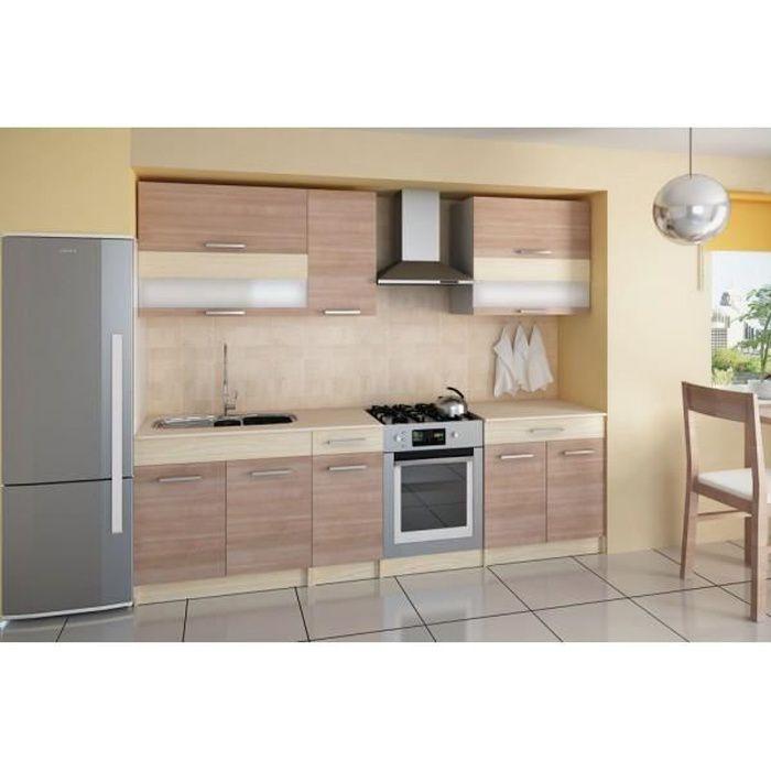 Cuisine compl te 210 cm elise bois moderne achat vente for Cuisine complete en bois