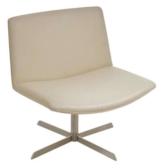 Chaise lugano en acier inoxydable coloris cr me achat vente chaise acier inoxydable cuir for Chaise en acier poitiers