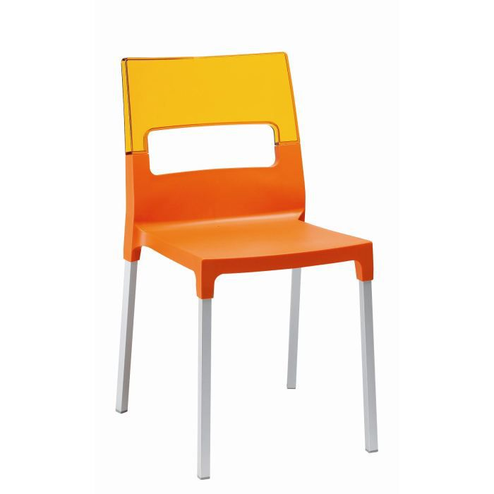 Chaise orange et translucide orange diva ve achat for Chaise translucide