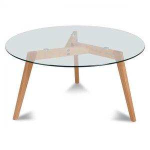 Table de cuisine achat vente table de cuisine pas cher cdiscount - Table ronde verre bois ...