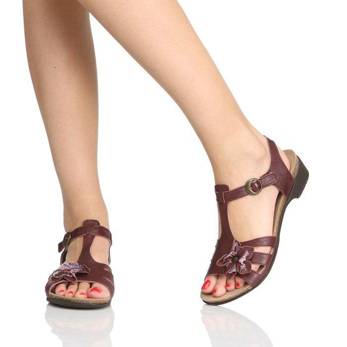 kickers sandales casual femme femme rouge bordeaux achat vente kickers sandales casual femme. Black Bedroom Furniture Sets. Home Design Ideas
