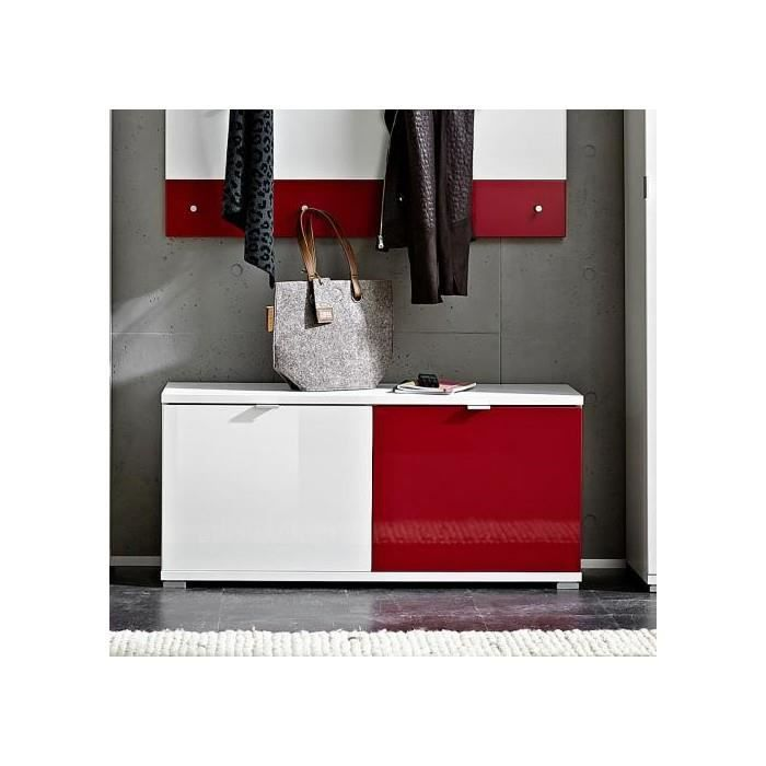 Meuble a chaussures colorado 2 tiroirs blanc rouge achat for Meuble a chaussure rouge