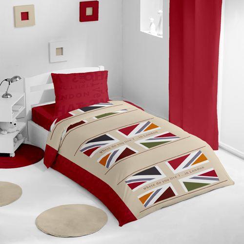 housse de couette et une taie flag pop rouge achat vente parure de lit cdiscount. Black Bedroom Furniture Sets. Home Design Ideas