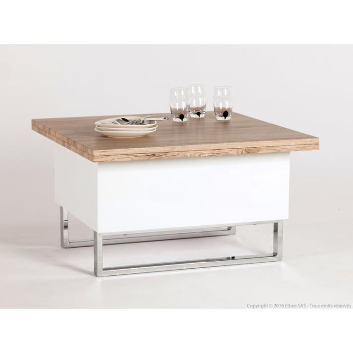 Table basse carr e en bois laqu avec plateaux relevables for Table carree blanc laque avec rallonge