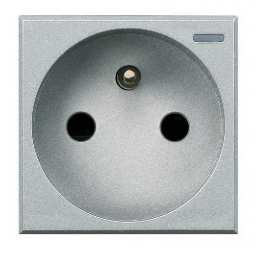 Prise de courant 2p t 16a auto bticino axolute aluminium for Bticino x800