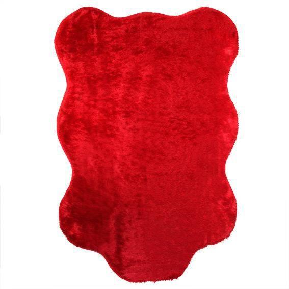 Tapis peau de b te peluche rouge achat vente tapis cdiscount Tapis peau de bete synthetique