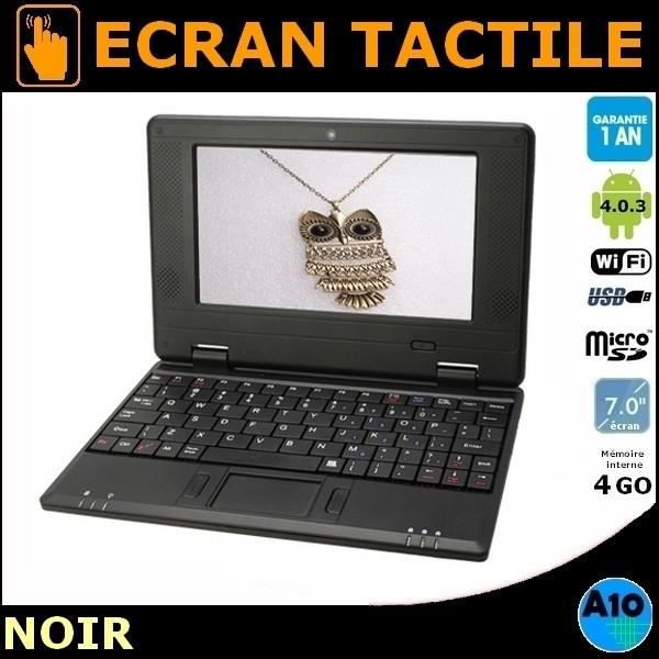Netbook noir cran 7 tactile android 4 0 3 wifi cam ra for Photo ecran android 7