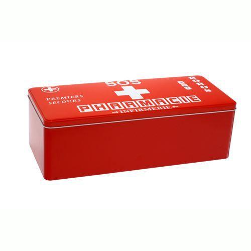Boite pharmacie m tal rouge achat vente boite de rangement boite - Boite a pharmacie design ...