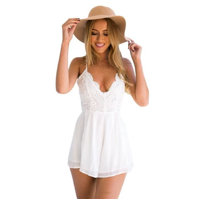 sexy robe t de plage femme fille dos nu r glable blanc blanc achat vente robe cdiscount. Black Bedroom Furniture Sets. Home Design Ideas