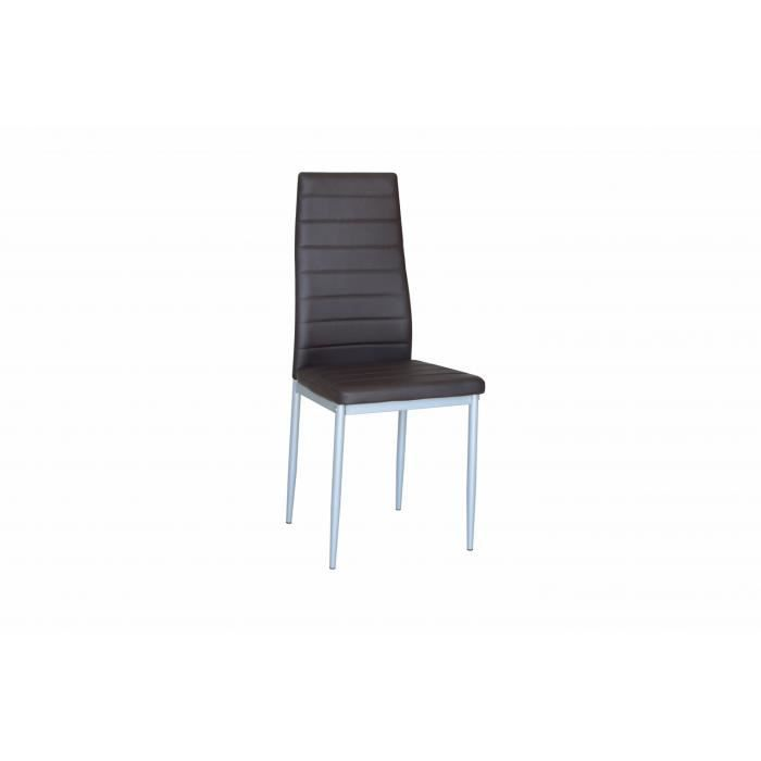 Lot de 4 chaises de salle manger marron fonce achat for Lot 4 chaises salle manger