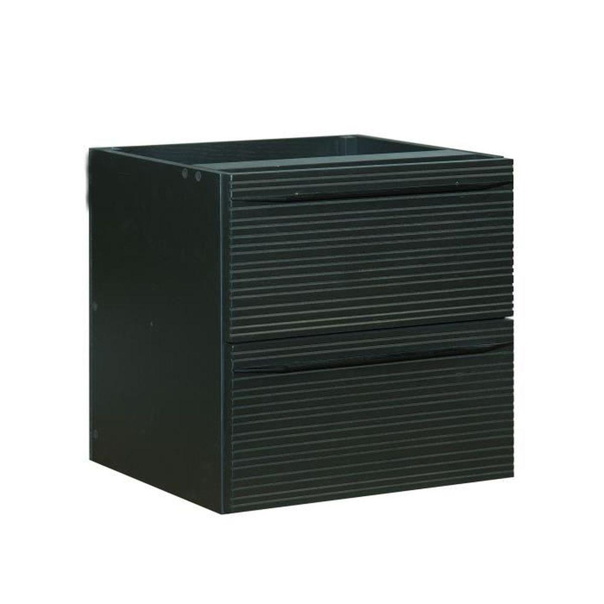 Fine meuble bloc de 2 tiroirs stri s format carr noir - Meuble rangement carre ...