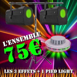 PACK LUMIÈRE PACK 3 JEUX DE LUMIERE 2 GOBO FLOWER + 1 UFO LED +