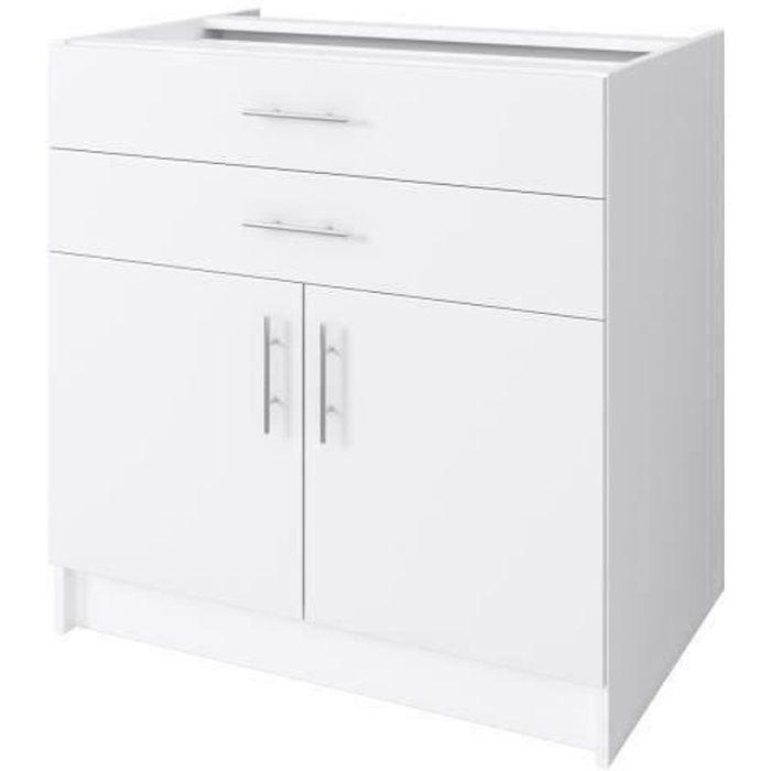 Obi meuble bas de cuisine l 80 cm blanc mat achat vente elements bas obi meuble bas 80 cm for Meuble bas cuisine hauteur 80 cm