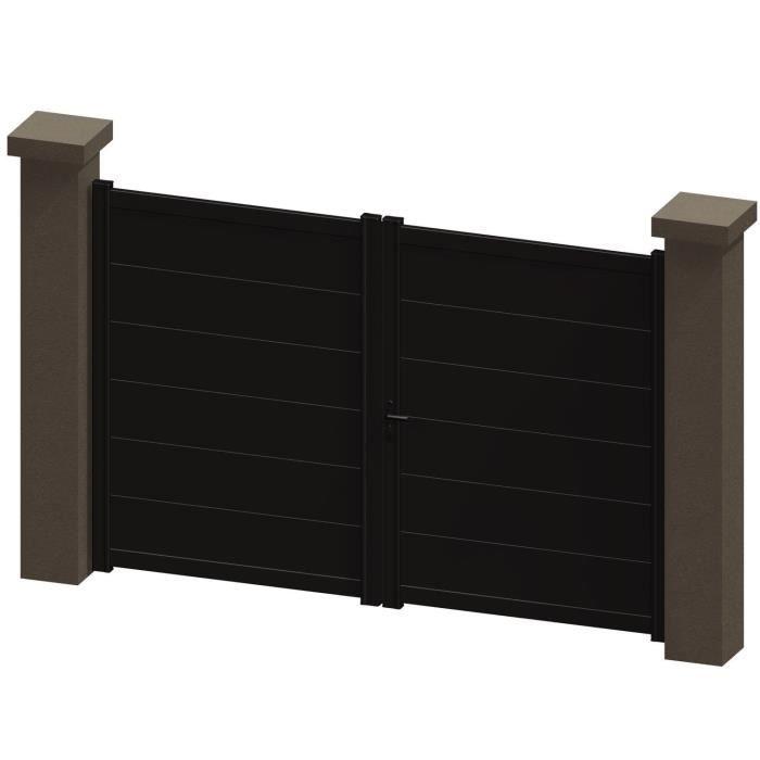 portail battant en aluminium kali marron 3m manuel achat vente portail portillon portail. Black Bedroom Furniture Sets. Home Design Ideas