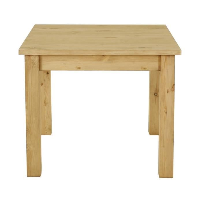 Table carr e rustique en pin 95 cm achat vente table a for Table en pin ronde