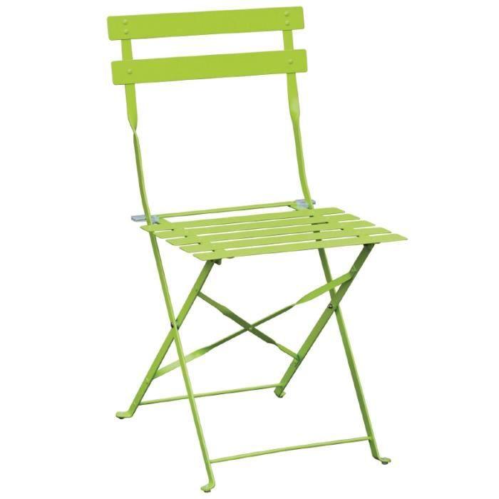 Lot de 2 chaises de terrasses modernes de coloris vert for Les chaises modernes