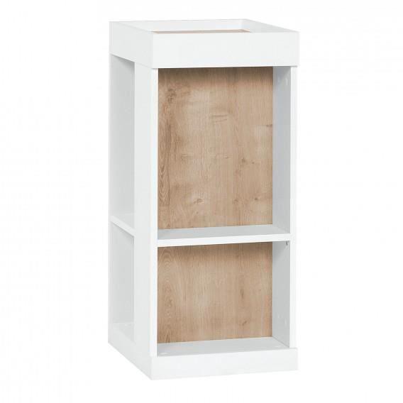 biblioth que basse muto 4 niches de rangement blanc et ch ne l36 x h76 x p46 cm achat vente. Black Bedroom Furniture Sets. Home Design Ideas