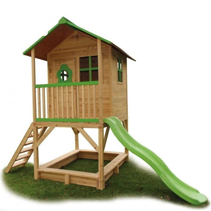Maisonnette de jeux avec toboggan robin des bois achat vente maisonnette ext rieure for Portique en bois avec toboggan
