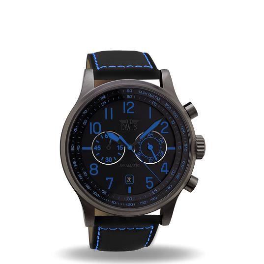 montre homme aviateur 42mm bleue chrono etanche acier achat vente montre cdiscount. Black Bedroom Furniture Sets. Home Design Ideas