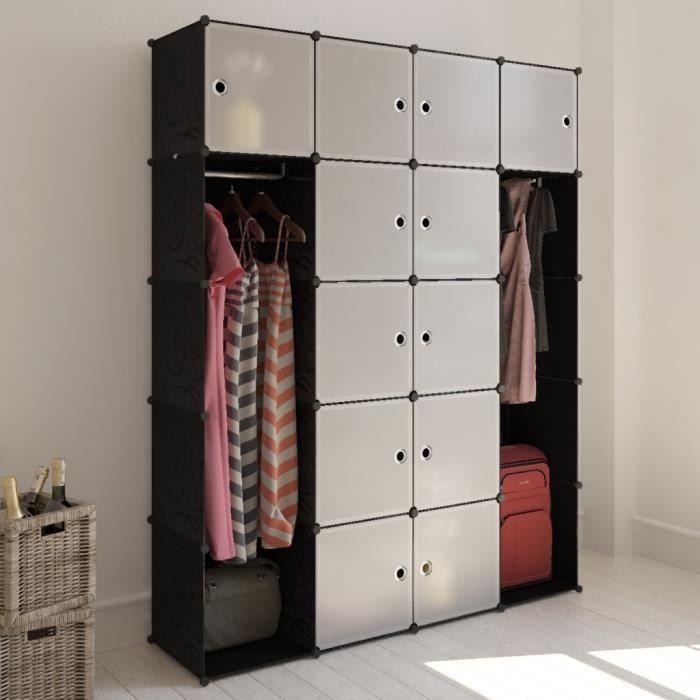 cabinet modulable meuble avec 14 compartiments pour er v tements et chaussures de chambre. Black Bedroom Furniture Sets. Home Design Ideas