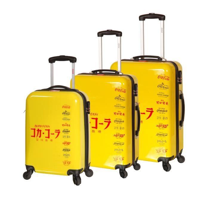 coca cola set de 3 valises trolley 4 roues jaune achat vente set de valises 3700245430095. Black Bedroom Furniture Sets. Home Design Ideas