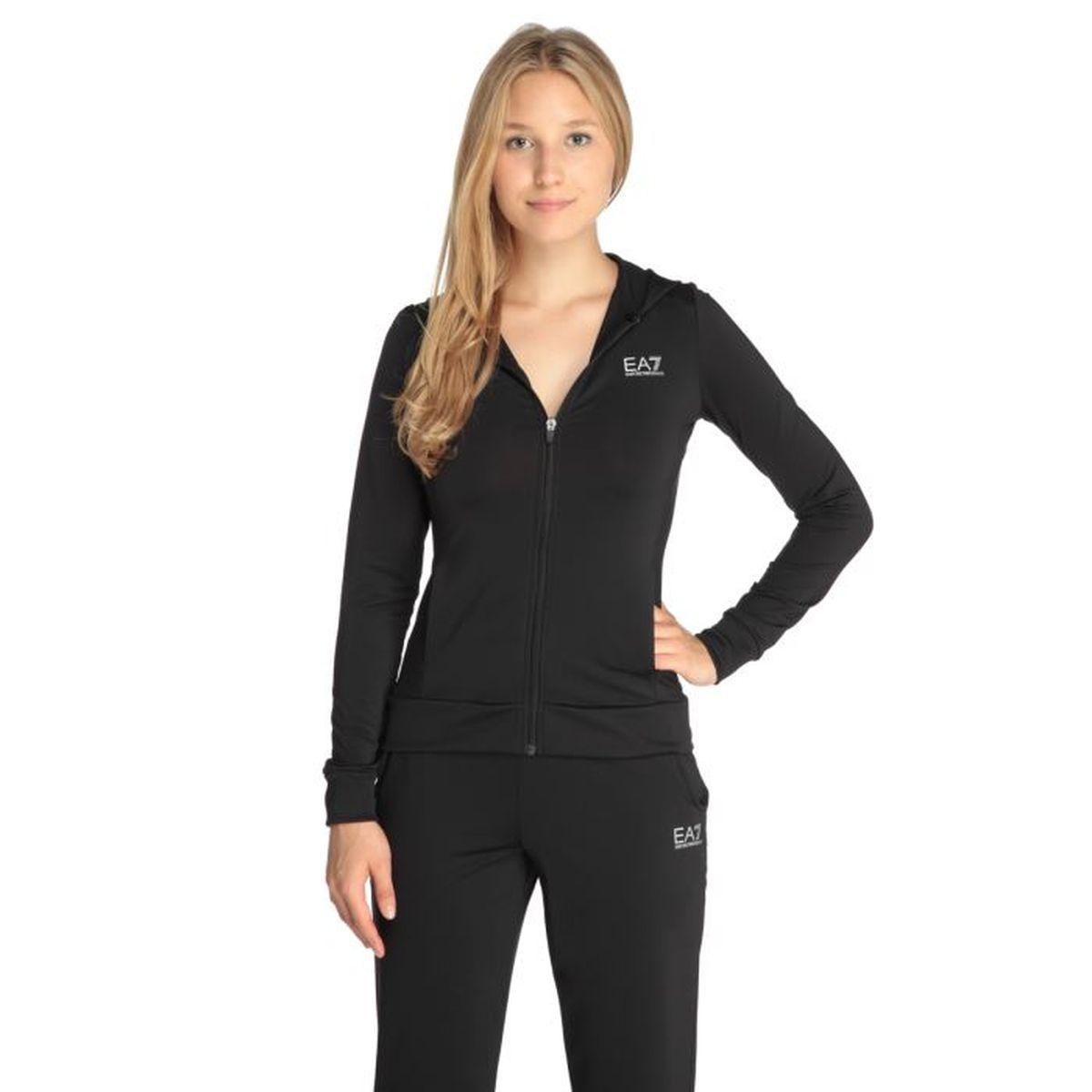 ea7 veste sweat zipp e capuche femme noir achat. Black Bedroom Furniture Sets. Home Design Ideas