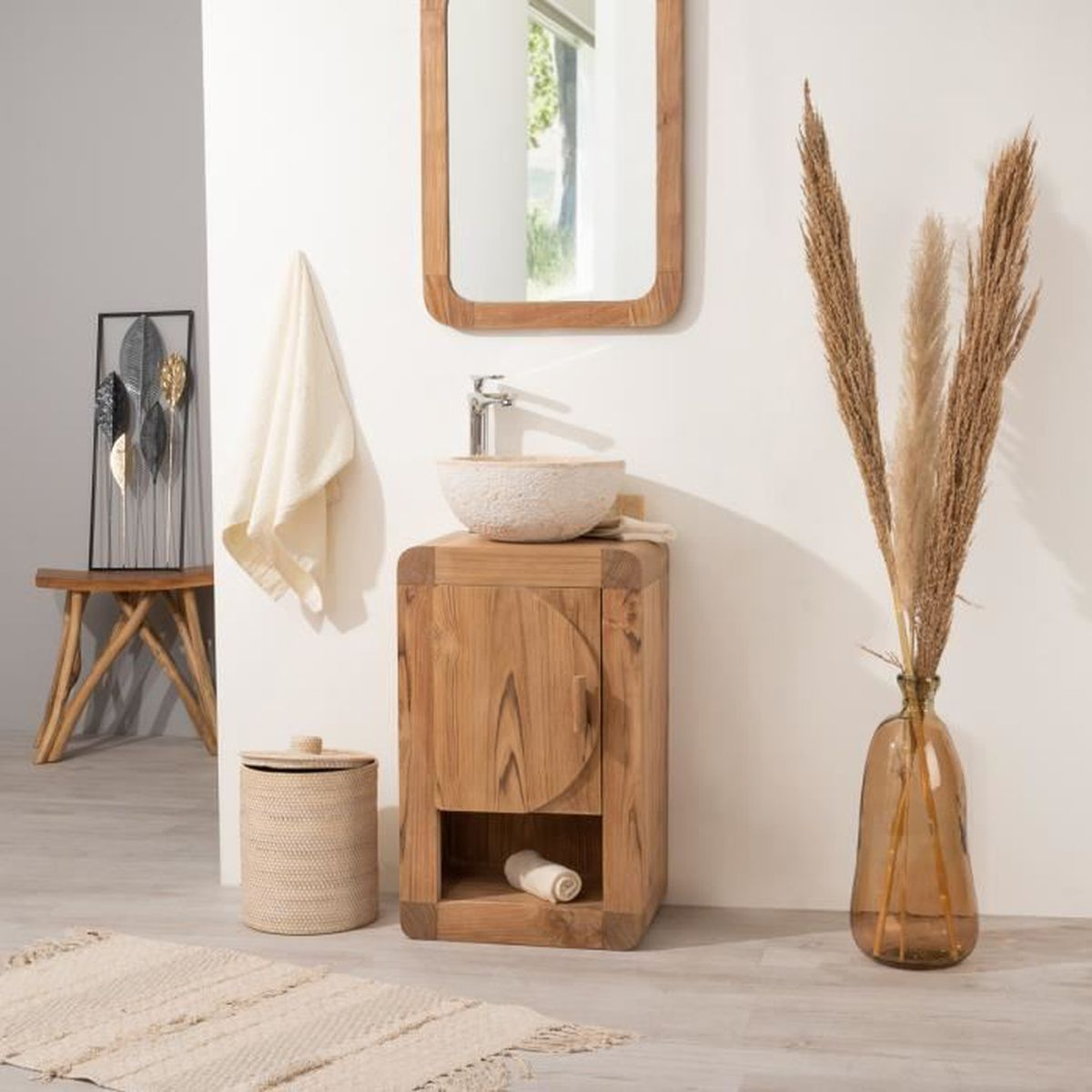 Petit Meuble De Salle De Bain Ou Wc 44cm En Teck Massif Achat Vente Meuble Vasque Plan