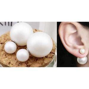 boucle d oreilles double boule achat vente pas cher cdiscount