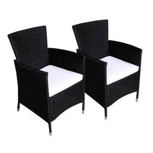 TABLE A MANGER SEULE fauteuils en résine tressée x2 + coussins couleur