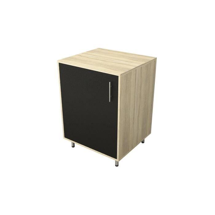 candy caisson porte noir mat bois ch ne 60cm achat vente cuisine compl te caisson porte noir. Black Bedroom Furniture Sets. Home Design Ideas