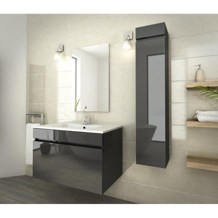 Luna ensemble de salle de bain 80 cm gris vernis - Ensemble meuble de salle de bain ...