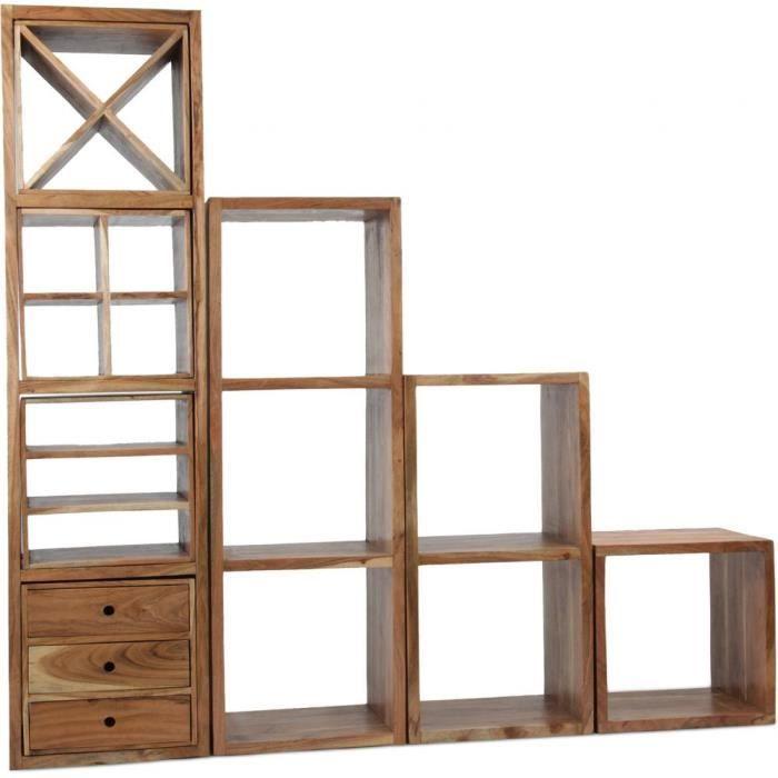 Ensemble d 39 tag re 8 modules cube bois naturel achat - Etagere cube bois ...