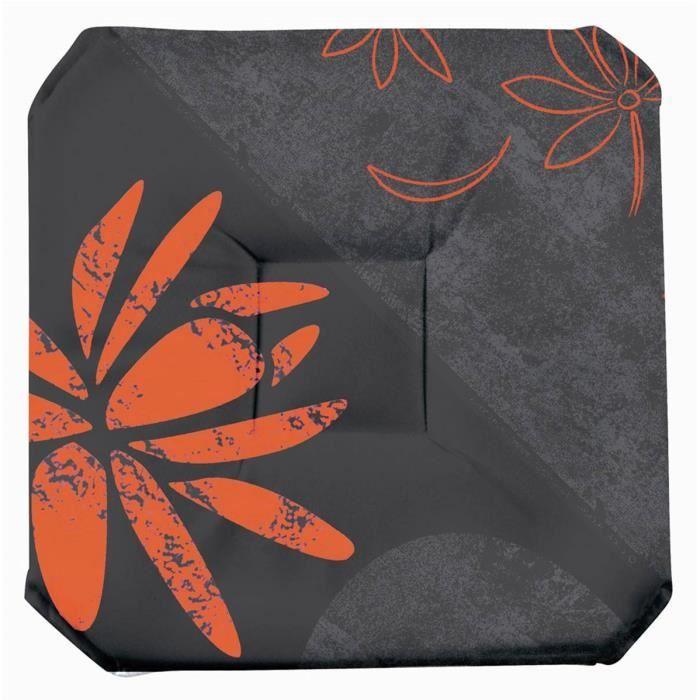 galette de chaise anti taches rabats lotus orange achat vente coussin de chaise. Black Bedroom Furniture Sets. Home Design Ideas